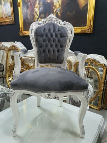 CHAIRS FRANCE BAROQUE STYLE DINING ROYAL CHAIR WITH  ARMRESTS WHITE-SILVER #70F31